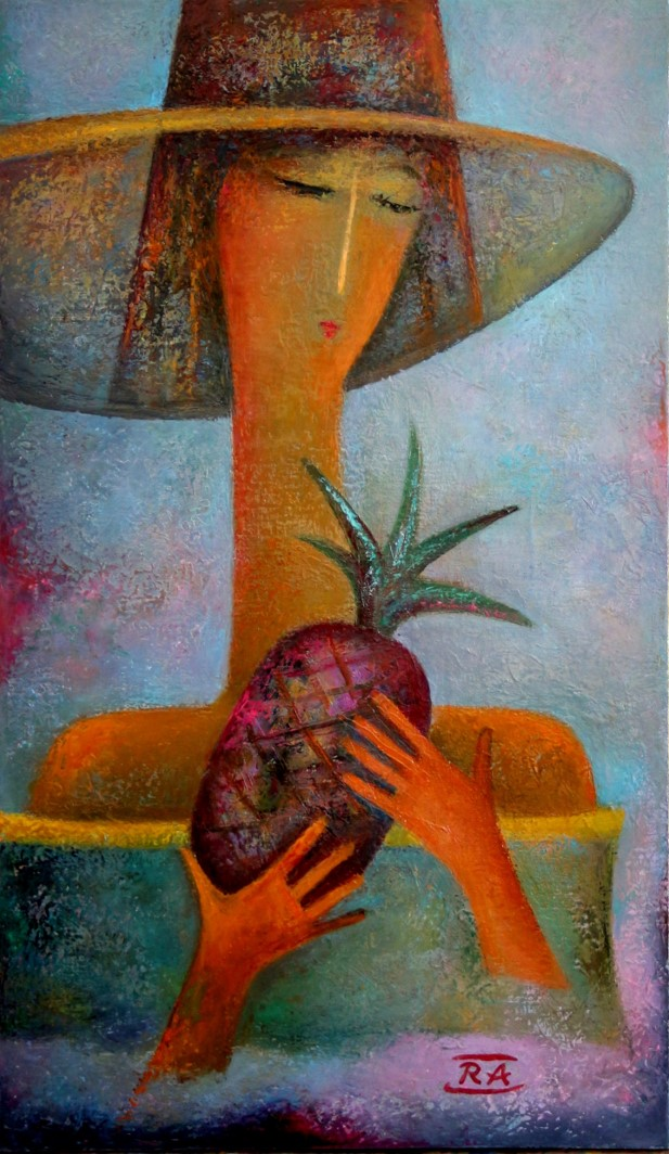 Girl with pineapple 35x60