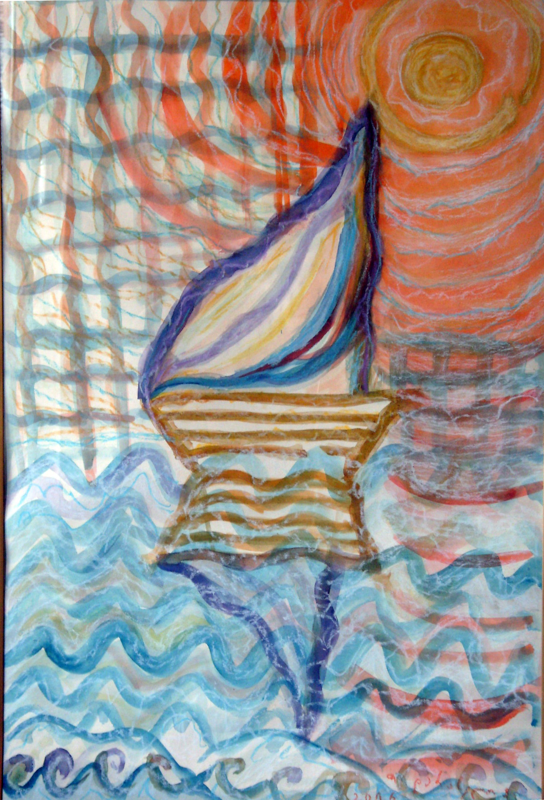 The Sail, 41x61cm, watercolour, oil pastel, cardboard, 2006