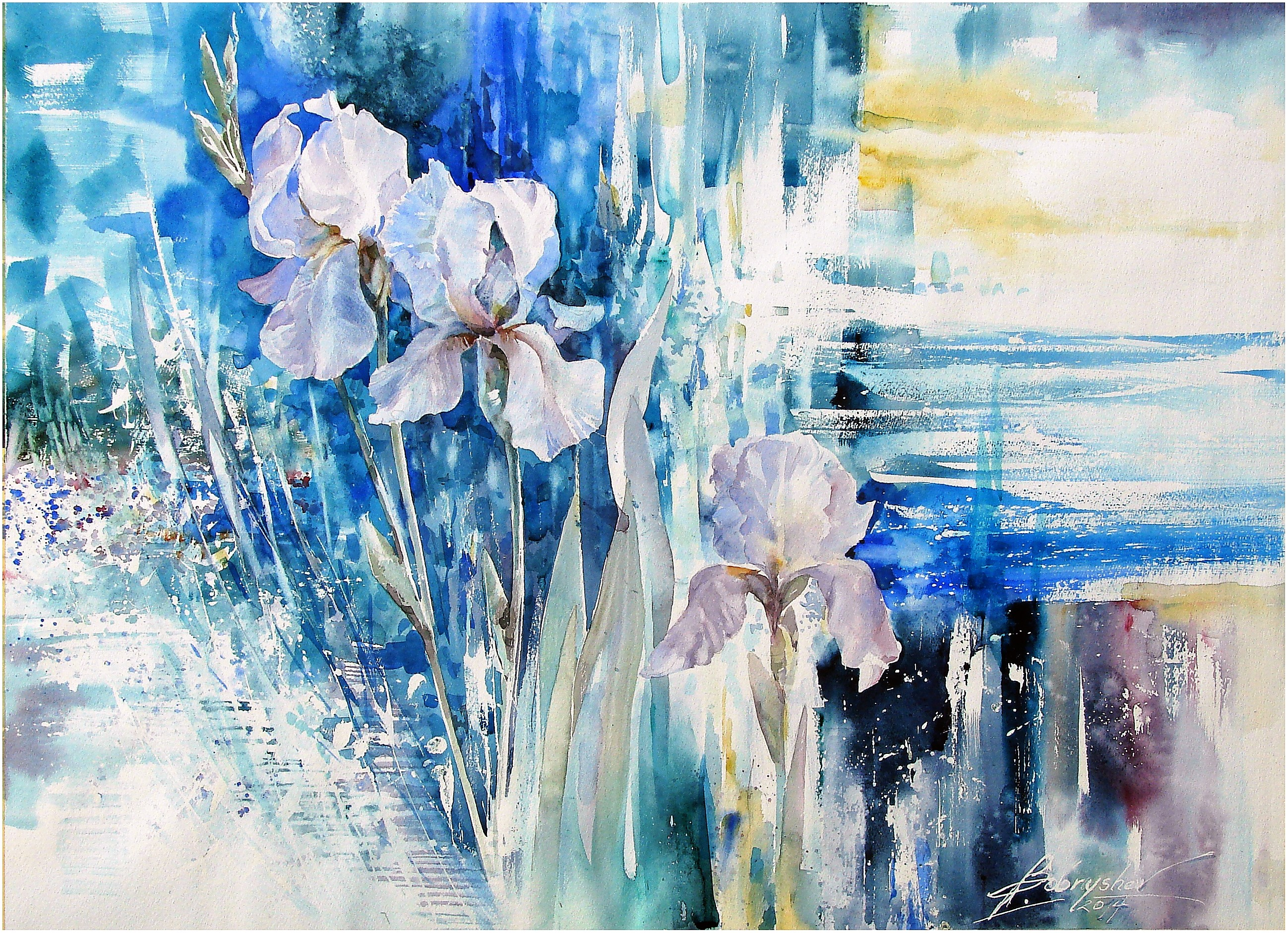 Irises in blue tones. 2014 Watercolor.54x76cm