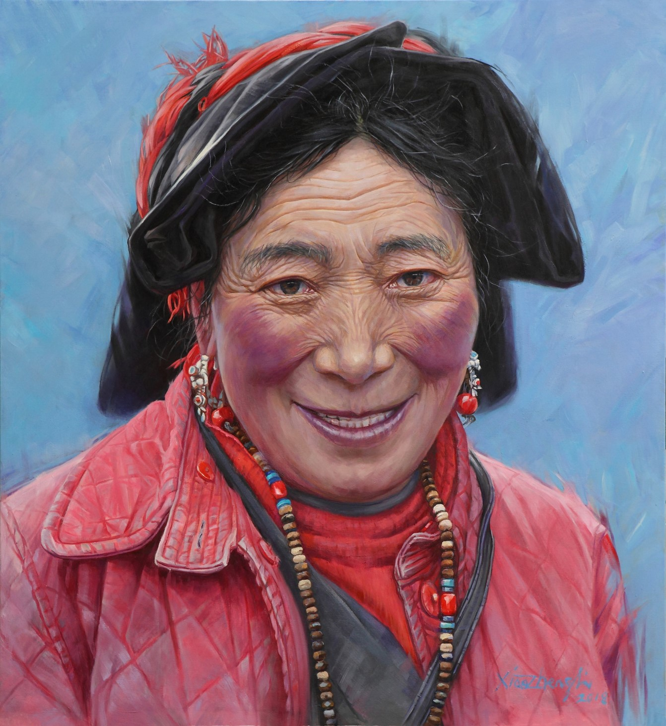 Li Xiaozheng oil painting Smiling 163×150cm
