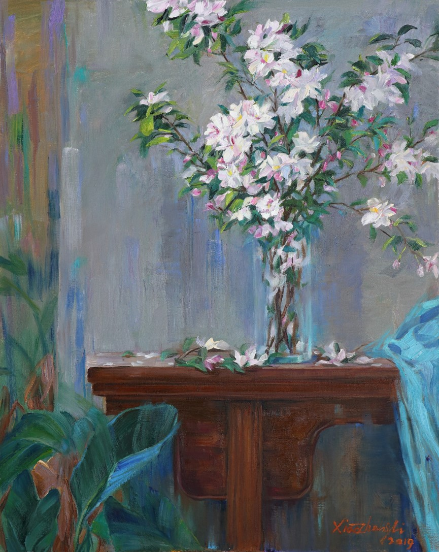 painting Purple elm narrow table and Begonia flowers 100×80cm