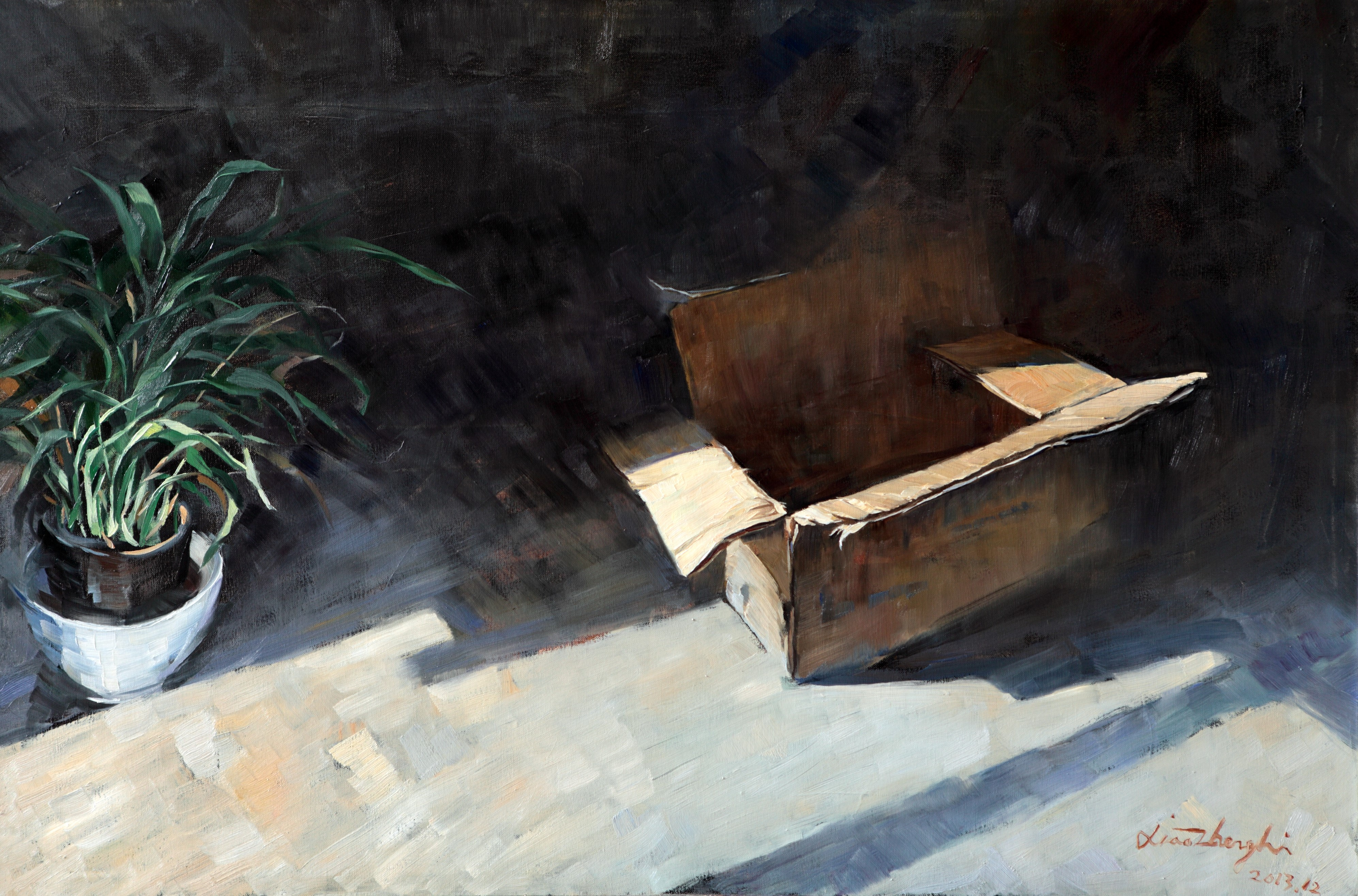 oil painting Box& Grass 80×120cm