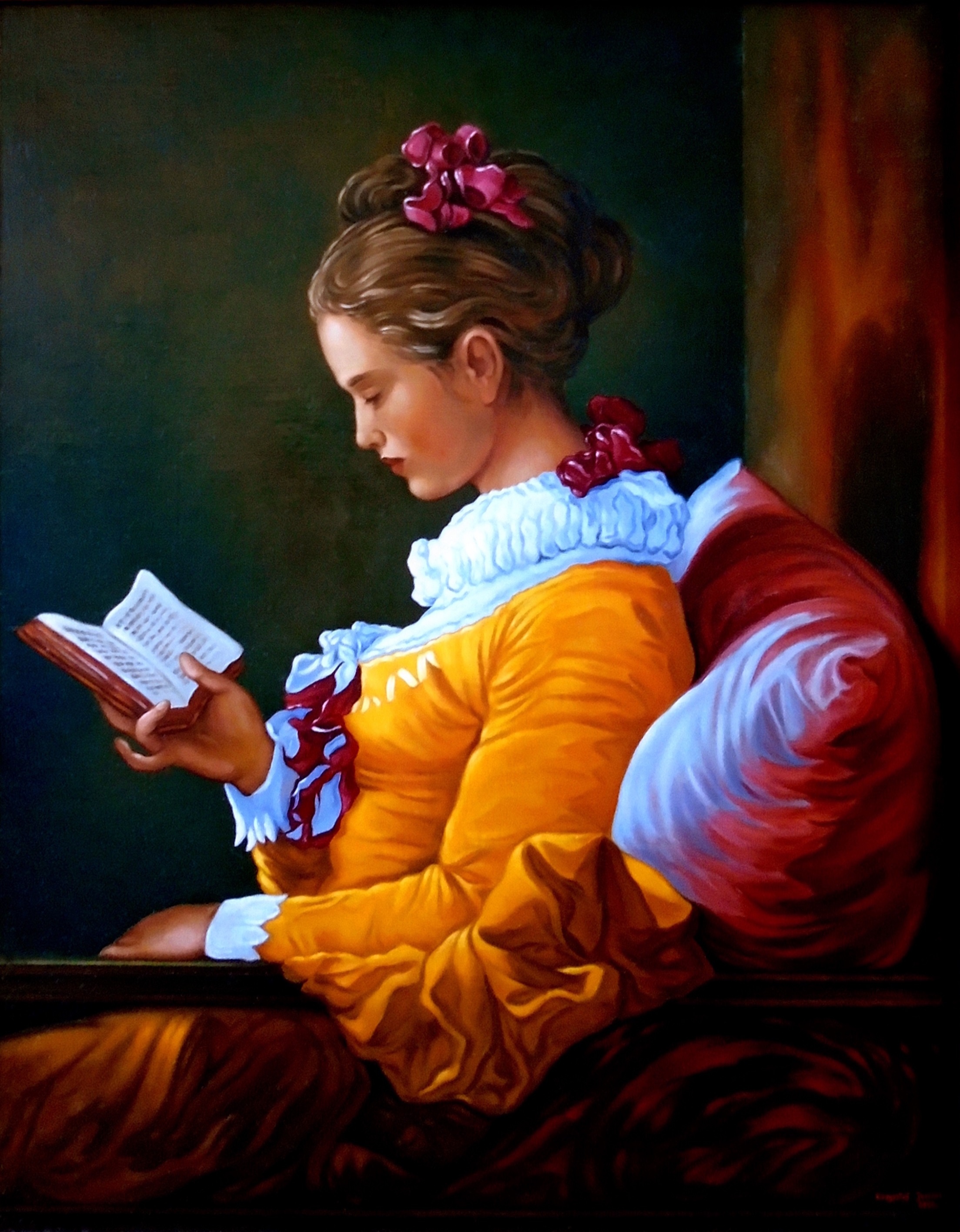 Girl reading a book, 51cm x 40cm