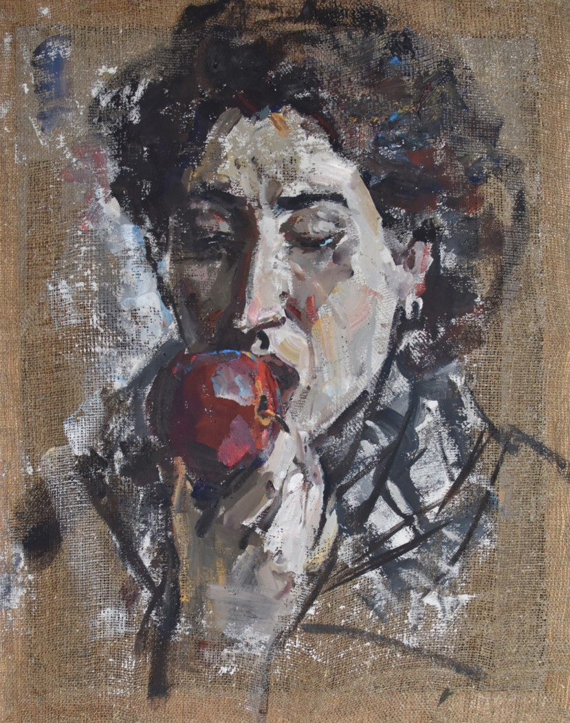 Girl with an apple. tempera canva. 100x90 2018