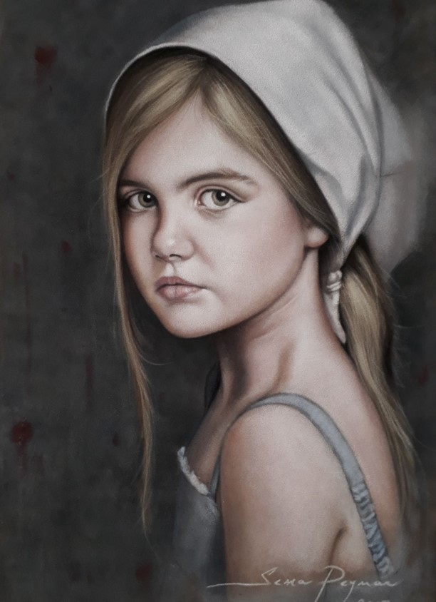 Little Girl 30 x 50 cm Dry pastels on velvet paper