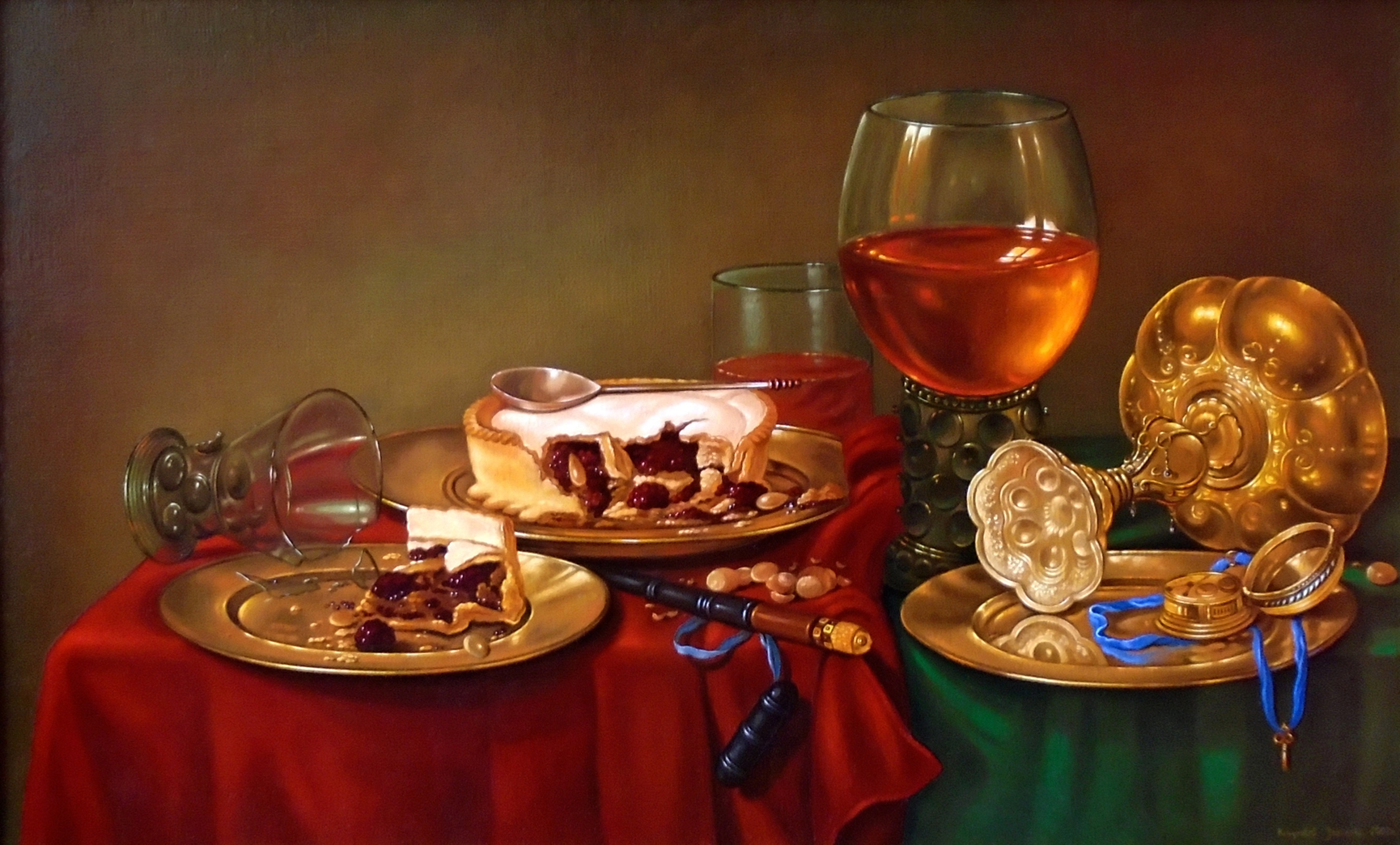 Still life, Breakfast with blackberry pie, 44.5cm x 72cm