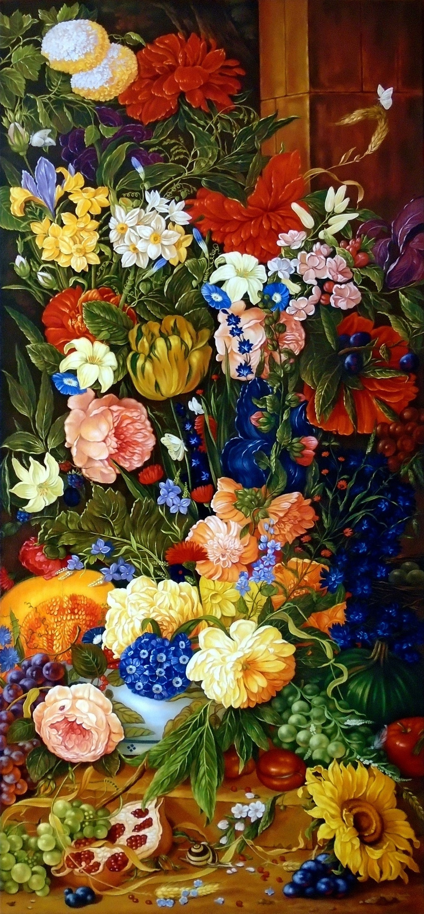 Still life, Everything you can find in the garden, 118cm x 51cm