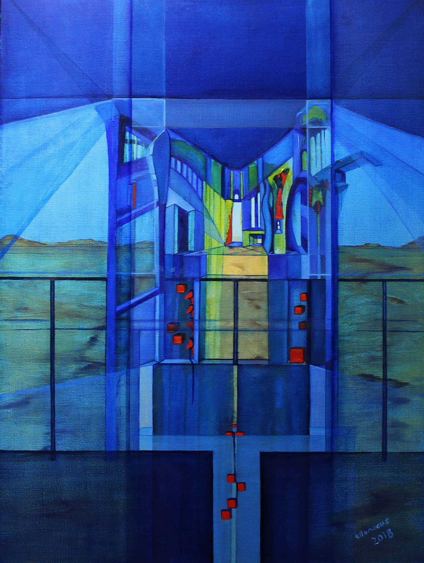 open the door, oil on canvas, size 80 x 60 cm, 2018