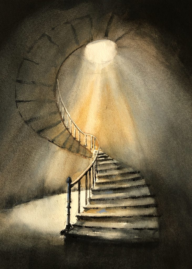 Jan Min Light and hope......  Watercolor 35 x 28 cm